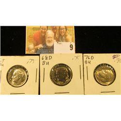 1965 P, 68 D, & 76 D Roosevelt Dimes, Gem Uncirculated.