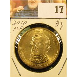 2010 P Gem BU Presidential Willard Fillmore 'Golden' Dollar Coin.