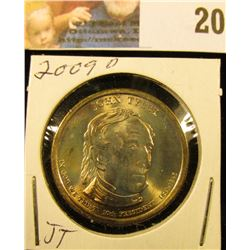 2009 D Presidential John Tyler 'Golden' Dollar Coin. Gem BU.