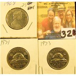 1968, 71, & 73 Circulated Canada Nickels