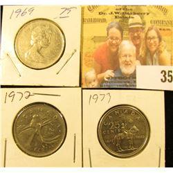 1969, 72, & 73 circulated Canada Quarters.