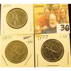 1974, 75, & 77 circulated Canada Quarters.