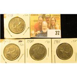 1978, 79, 80, & 81 circulated Canada Quarters.