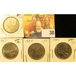 1982, 85, 89, & 95 Circulated Canada Quarters.