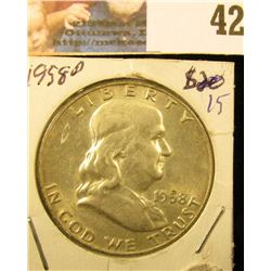 1958 D Gem BU 3/4 FBL Franklin Half Dollar.