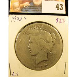1922 S U.S. Peace Dollar, circulated.