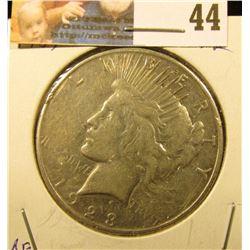 1923 S U.S. Silver Peace Dollar, EF.