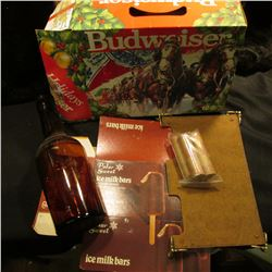 "Budweiser King of Beers Holiday Box depicting the Clydesdale; Amber Liquor Bottle; ""Polar Sweet ice"