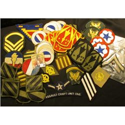 Large Zip Lock bag full of Old Military Patches.