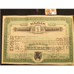 "Jan. 13, 1927 hole cancelled Stock Certificate for 10 Shares ""Elgin National Watch Co."", upper centr"