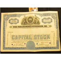 "Rare Specimen Stock Certificate ""Hyde Park Breweries Association, Inc. Incorporated Under the Laws o"