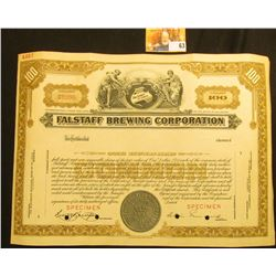 "Specimen red stamped, hole cancelled serial number C0000 ""Falstaff Brewing Corporation"", upper centr"