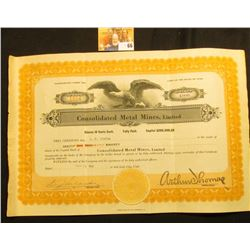 "Mar. 14, 1931 Stock Certificate for 1000 Shares ""Consolidated Metal Mines, Limited"", upper central v"