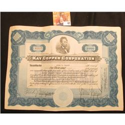 "Nov. 3, 1928 Stock Certificate for 1,000 Shares ""Kay Copper Corporation"", upper central vignette of"
