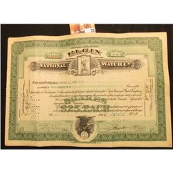 "Jun. 23, 1927 hole cancelled Stock Certificate for 80 Shares ""Elgin National Watch Co."", upper centr"