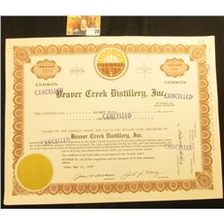 "May 31, 1966 100 Shares Stock Certificate ""Beaver Creek Distillery, Inc."", located in Webster Co., F"