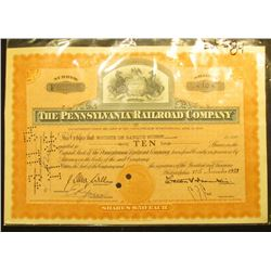 "Nov.12th, 1953 Stock Certificate for Ten Shares ""The Pennsylvania Railroad Company"", upper central v"