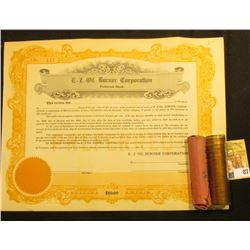 "Unissued 1920 era Stock Certificate ""E-Z Oil Burner Corporation"", $50.00; & 1960 P & D Large Date Ro"