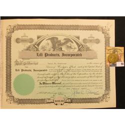 "April 3rd, 1951 Stock Certificate for 10 Shares of ""Lift Products, Incorporated"" Common Stock, upper"