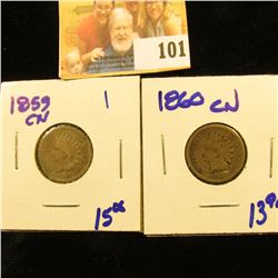 1860cn and 1859cn INDIAN HEAD PENNIES