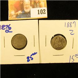 1876CC AND 1887 SEATED LIBERTY DIMES