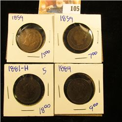 TWO 1859 CANADIAN PENNIES PLUS 1884 AND 1881-H ALL FOR 1 MONEY