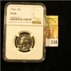 1962 PROOF SILVER QUARTER GRADED PROOF 64 BY NGC
