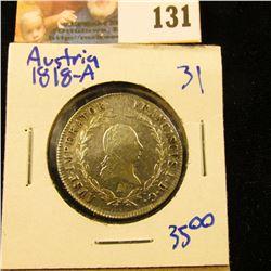 AUSTRIA 1818-A SILVER  20 KREUTZER COIN