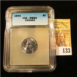 1944 CANADIAN NICKEL GRADED MS63 BY ICG