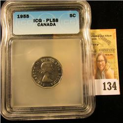 1955 CANADIAN NICKEL GRADED AU58 PROOFLIKE BY ICG