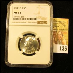 1946-S SILVER WASHINGTON QUARTER GRADED MS64 BY NGC