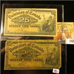 "2 CANADIAN FRACTIONAL NOTES ""SHINPLASTERS"" DATED 1900"