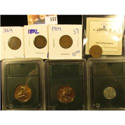 MIX BAG OF COINS INCLUDING 2 ENCASED SACAGAWEA DOLARS, ENCASED 1943 STEEL PENNY, 1864 IHP, 1892 IHP,