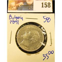 BULGARIA 2 LAVA COIN DATED 1890.  FERDINAND THE FIRST IS ON THE FRONT OF THE COIN