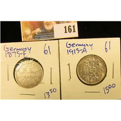 1915-A AND 1875-E SILVER GERMAN MARK COINS