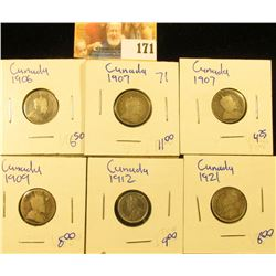 CANADIAN SILVER DIME LOT INCLUDES 1912, 1909, 1921, 1907, 1906, AND 1907