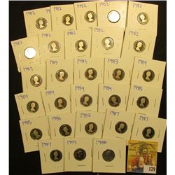 LARGE CANADIAN PROOF DIME LOT INCLUDES THESE DATES 1982, 1983, 1984, 1985, 1986, 1987, 1988, 1993.