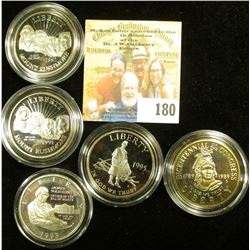 5 PROOF COMMEMORATIVE HALF DOLLARS… INCLUDED INTHIS LOT IS A SILVER JAMES MADISON/CONSTITUTION, BICE