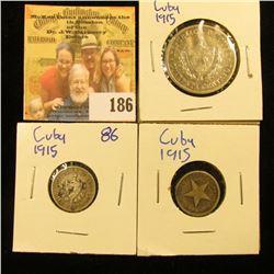 1915 SILVER CUBAN 40 CENTAVOS COIN PLUS 2 1910 TEN CENTAVOS COINS