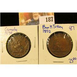 1854 BANK OF UPPER CANADA BANK TOKEN HALF PENNY AND 1852 QUEBEC BANK TOKEN HALF PENNY