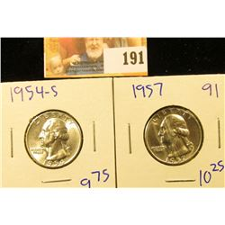 1957 AND 1954-S SILVER WASHINGTON QUARTERS