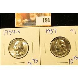 1957 AND 1954-S SILVER WASHINGTON QUARTERS