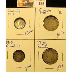 1911 CANDIAN SILVER 5 CENT PIECE, 1909 CANADIAN QUARTER, 1909 QUARTER, AND 1910 CANADIAN 5 CENT PIEC