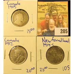 1912 & 1905 CANADIAN QUARTERS AND 1919 NEWFOUNDLAND QUARTER