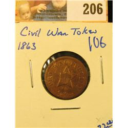 """CIVIL WAR TOKEN.  ON THE FRONT IT SAYS """"PRO BONO PUBLICO"""".  ON THE REVERSE IT SAYS NEW YORK"""