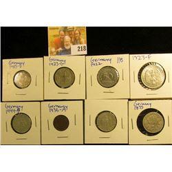 GERMAN COIN LOT INCLUDES 1922-F 50 PFENNIGS, 1915-D SILVER HALF MARK, 1923-G 200 MARK COIN, 1936-A 1