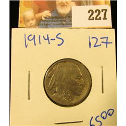 1914-SEMI KEY DATE BUFFALO NICKEL.  THE HORN IS VISIBLE