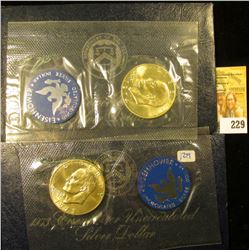 """1973 AND 1974 SILVER UNCIRCULATED """"BLUE IKES"""" IN ORIGINAL GOVERNMENT PACKAGING"""