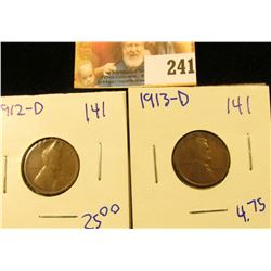 1912-D AND 1913-D WHEAT PENNIES