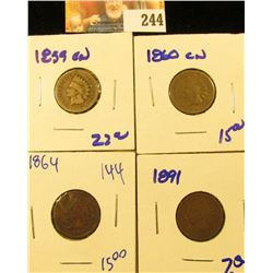 1860CN, 1960CN, 1891,  AND 1864 INDIAN HEAD PENNIES